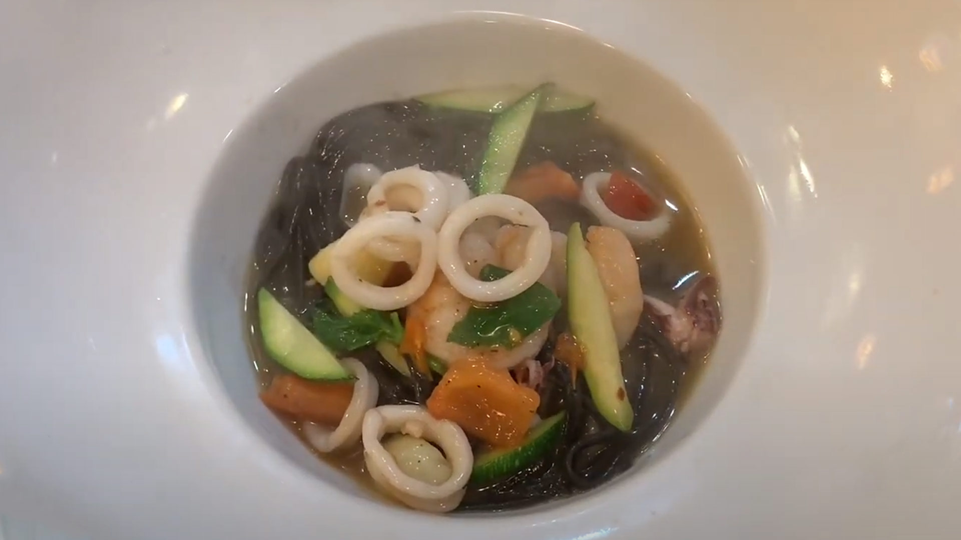 Black Squid ink Spaghetti with Seafood